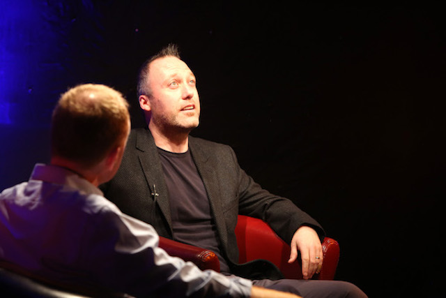 Andrew Mangan, Arseblog founder stars in the Red Chair at the Smarter Egg Business of Sport event. Photo Donagh Glavin