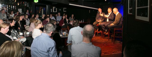 Cian O'Neill and Neil O'Brien on stage at The White Horse with Aodan Enright of Smarter Egg. Photo: Donagh Glavin